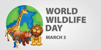Posterontwerp voor dag van het wereldwild