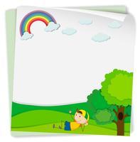 Ontwerp voor een papieren met jongen in het park