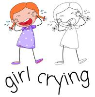 Doodle meisje karakter huilen vector