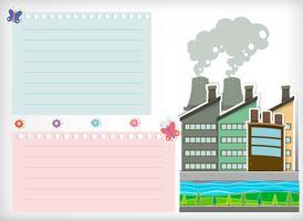Papierontwerp met park en fabrieken