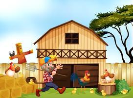 Boer werkt op de boerderij