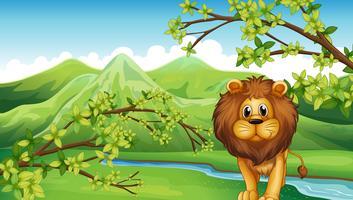 Het uitzicht op de bergen met een leeuw en een rivier vector
