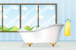 Badkuip in de badkamer vector