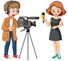 Nieuwsverslaggever en professionele cameraman vector