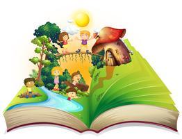Boek van kinderen die in het park spelen vector