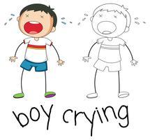 Doodle jongenskarakter huilen vector