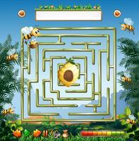 Bijen en bijenkorf doolhofspel
