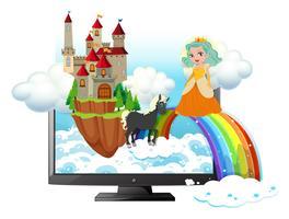 Computerscherm met prinses en kasteel
