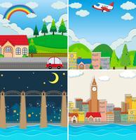 Vier verschillende scènes van de stad