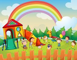 Kinderen die in de speelplaats spelen vector