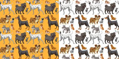 Naadloos ontwerp als achtergrond met leuke honden vector