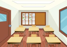 Leeg klaslokaal binnenlands ontwerp vector