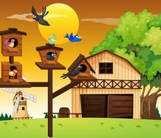 Veel vogels leven in vogelhuisje vector