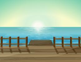 Een zicht op een haven en de zee vector