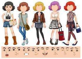 Vrouwelijk gezichtsuitdrukkingkarakter vector