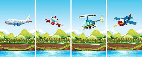 Vier scènes met vliegtuigen die vliegen
