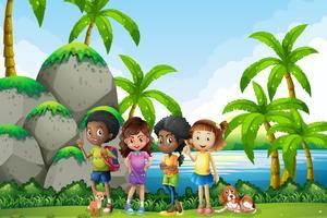 Kinderen gaan picnis in de natuur