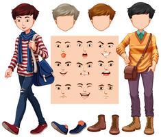 Set van man met verschillende hoofd en gezichtsuitdrukking vector