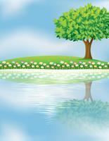 Een grote boom dichtbij de rivier vector