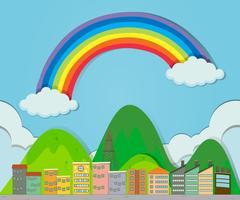 Rainbow over de stad