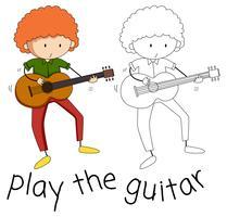 Doodle van een jongen gitaar spelen vector