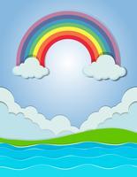 Aardscène met regenboog en rivier