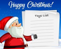 Kerstman op blanco papier sjabloon