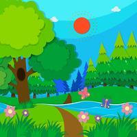 Aardscène met bomen en rivier