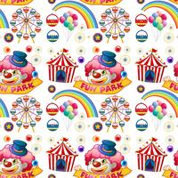 Naadloze clown en circusritten vector