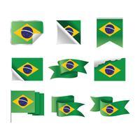 Vlag van Brazilië en lint instellen vector