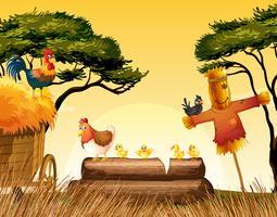 Kippen en vogelverschrikker in het veld vector