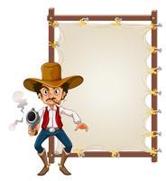Een cowboy op lege banner
