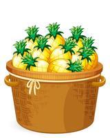 Ananas in de geweven mand