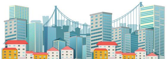 Stadsscène met lange gebouwen