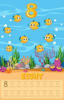 Acht kogelvissen in wiskunde werkblad vector