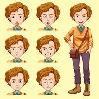Een jonge man met gezichtsuitdrukking vector