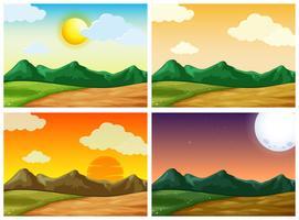 Vier landelijke scènes op verschillende tijdstippen van de dag vector