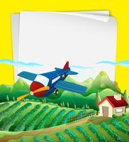 Ontwerp van het document met vliegtuig vliegt over het veld vector