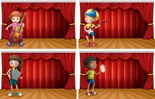 Kinderen die verschillend muziekinstrument spelen vector