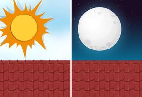 Dag en nacht uitzicht vanaf het dak