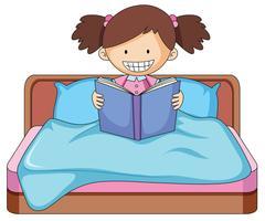 Een boek van de meisjeslezing in bed