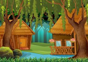 Houten hutten in het bos vector