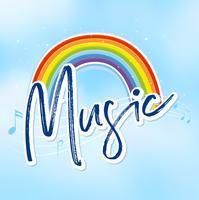 Regenboog en muzieknota's op achtergrond