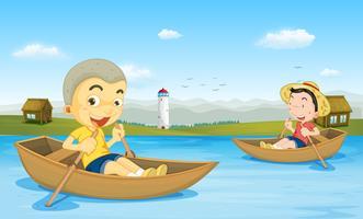 Twee jongens die boot in het meer roeien