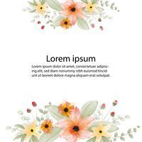 prachtige bloesem bloem aquarel schilderij en frame of banner achtergrond vector