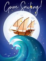 Scène met zeilboot in oceaan