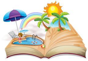Een boek met een afbeelding van een zwembad