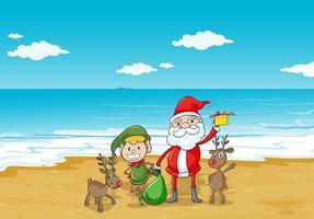 een jongen, een kerstman en een zee