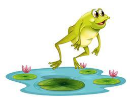 Een springende kikker bij de vijver