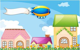 Een ballon boven het dorp met een lege banner